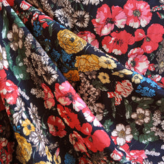 Autumn Floral Rayon Shirting Black - Fabric - Style Maker Fabrics