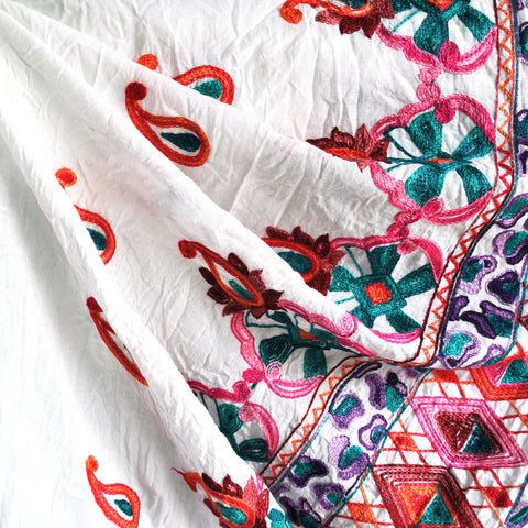 Embroidered Border Cotton Lawn White