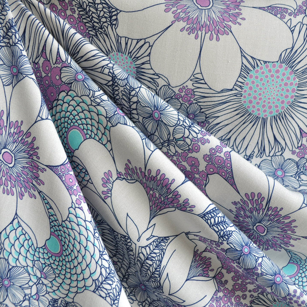 Digital Print Rayon Challis Floral Navy/Vanilla - Sold Out - Style Maker Fabrics