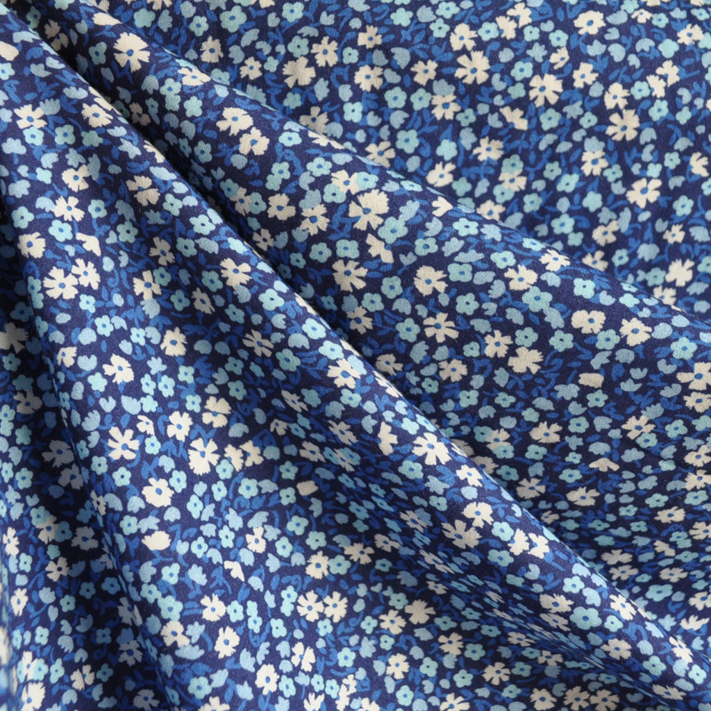 Digital Print Rayon Lawn Ditsy Floral Blues SY - Sold Out - Style Maker Fabrics