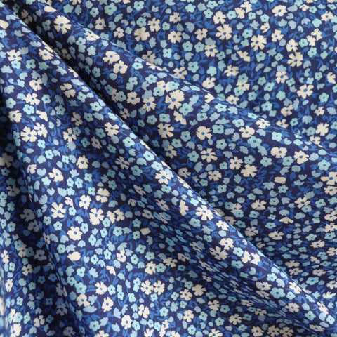 Digital Print Rayon Lawn Ditsy Floral Blues