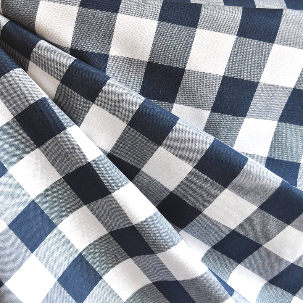 Carolina Gingham Shirting Navy/White - Fabric - Style Maker Fabrics