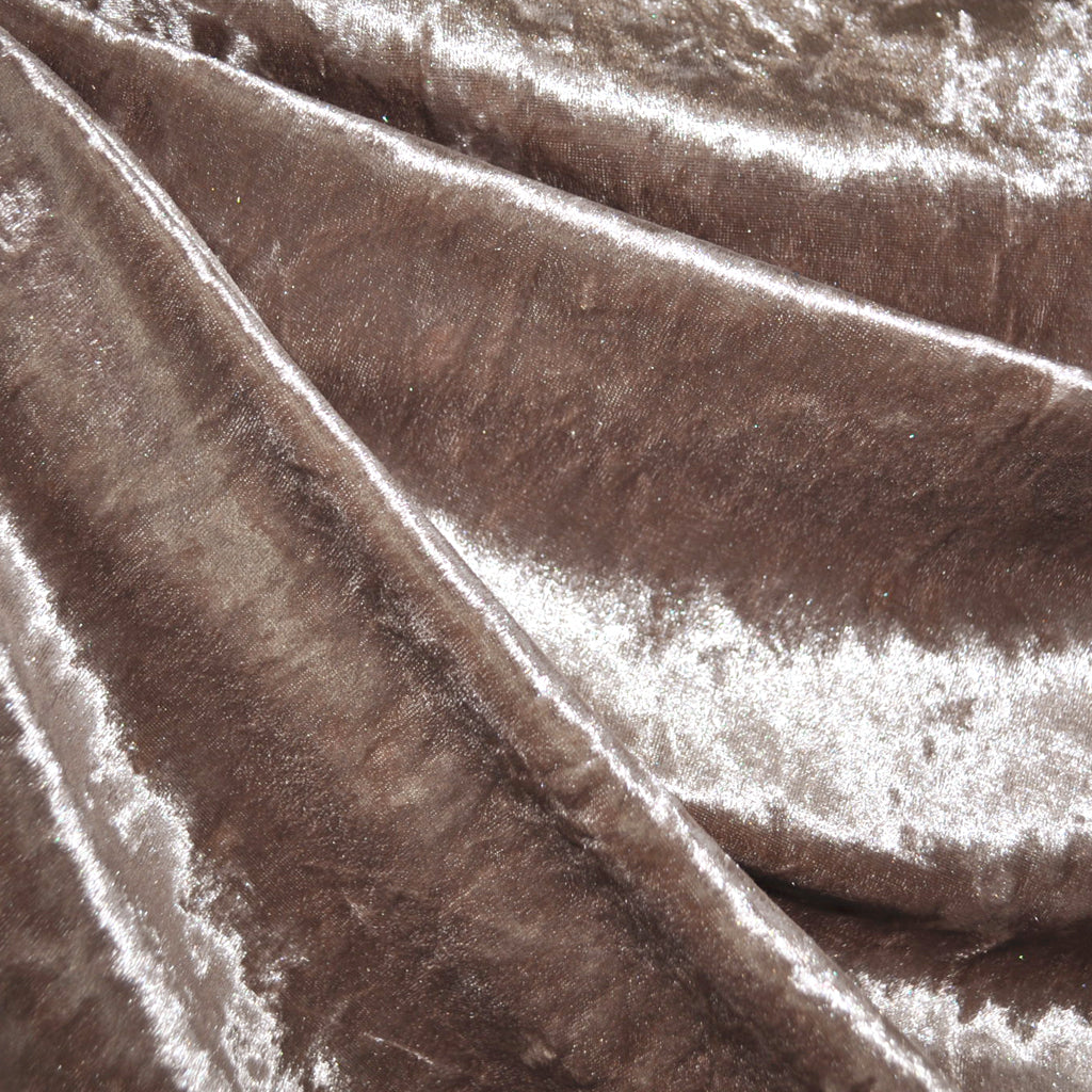 Stretch Panne Velvet Solid Taupe - Fabric - Style Maker Fabrics