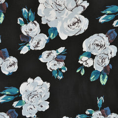 Romantic Rose Rayon Crepe Black/Teal - Sold Out - Style Maker Fabrics