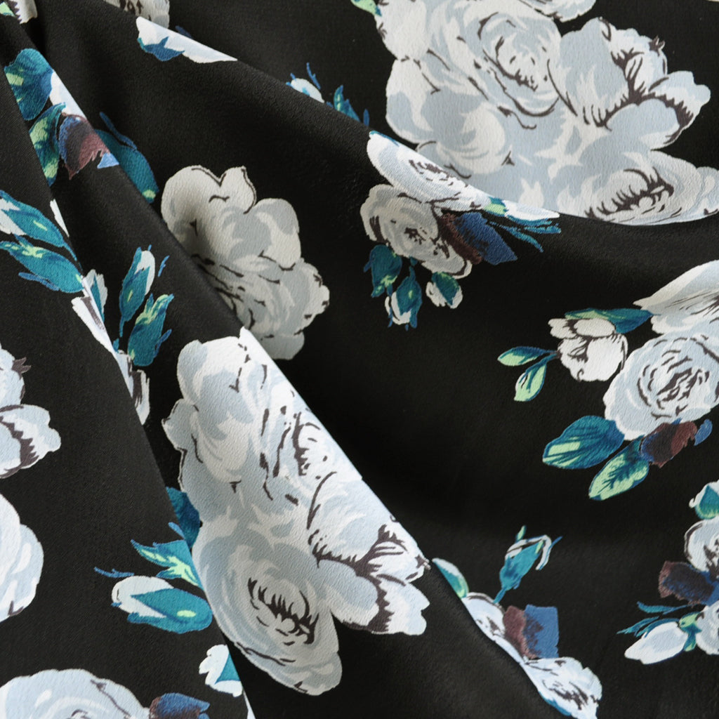 Rose Rayon Crepe Black/Teal SY - Sold Out - Style Maker Fabrics