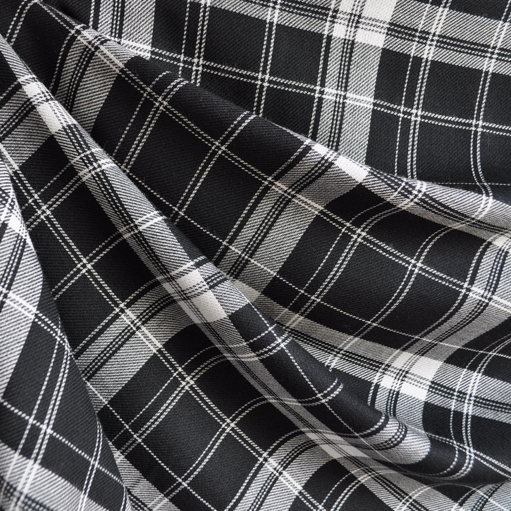 Tartan Plaid Rayon Shirting Black/White - Fabric - Style Maker Fabrics