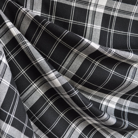 Tartan Plaid Rayon Shirting Black/White