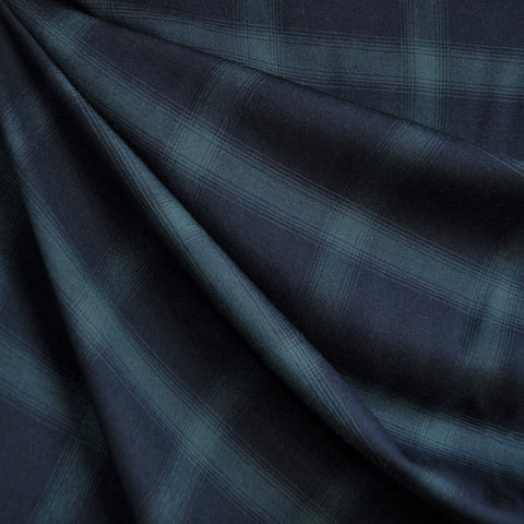 Tartan Plaid Rayon Lawn Navy/Hunter