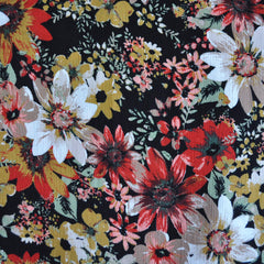 Rayon Crepe Autumn Floral Black/Gold - Fabric - Style Maker Fabrics