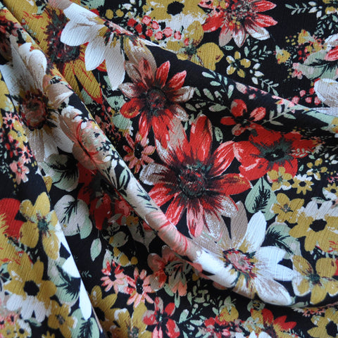 Textured Floral Rayon Crepe Autumn