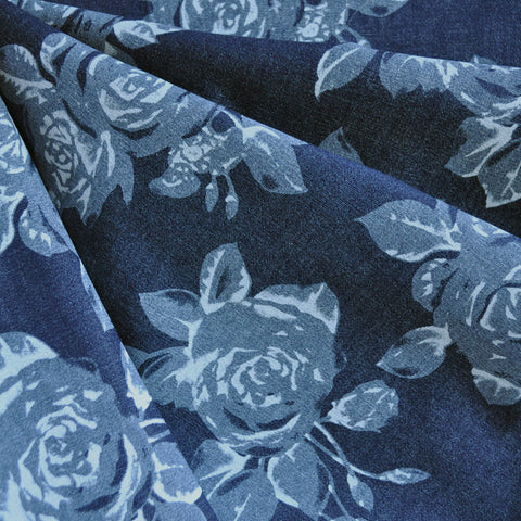 Rose Printed Stretch Denim Indigo