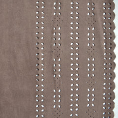 Laser Cut Double Border Faux Suede Mocha - Fabric - Style Maker Fabrics