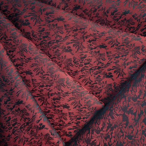 Abstract Floral Taffeta Jacquard Burgundy/Black