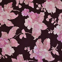 Rayon Crepe Vine Watercolor Floral Black/Pinks - Fabric - Style Maker Fabrics