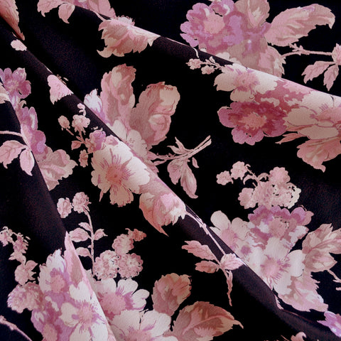 Rayon Crepe Watercolor Floral Black/Pink