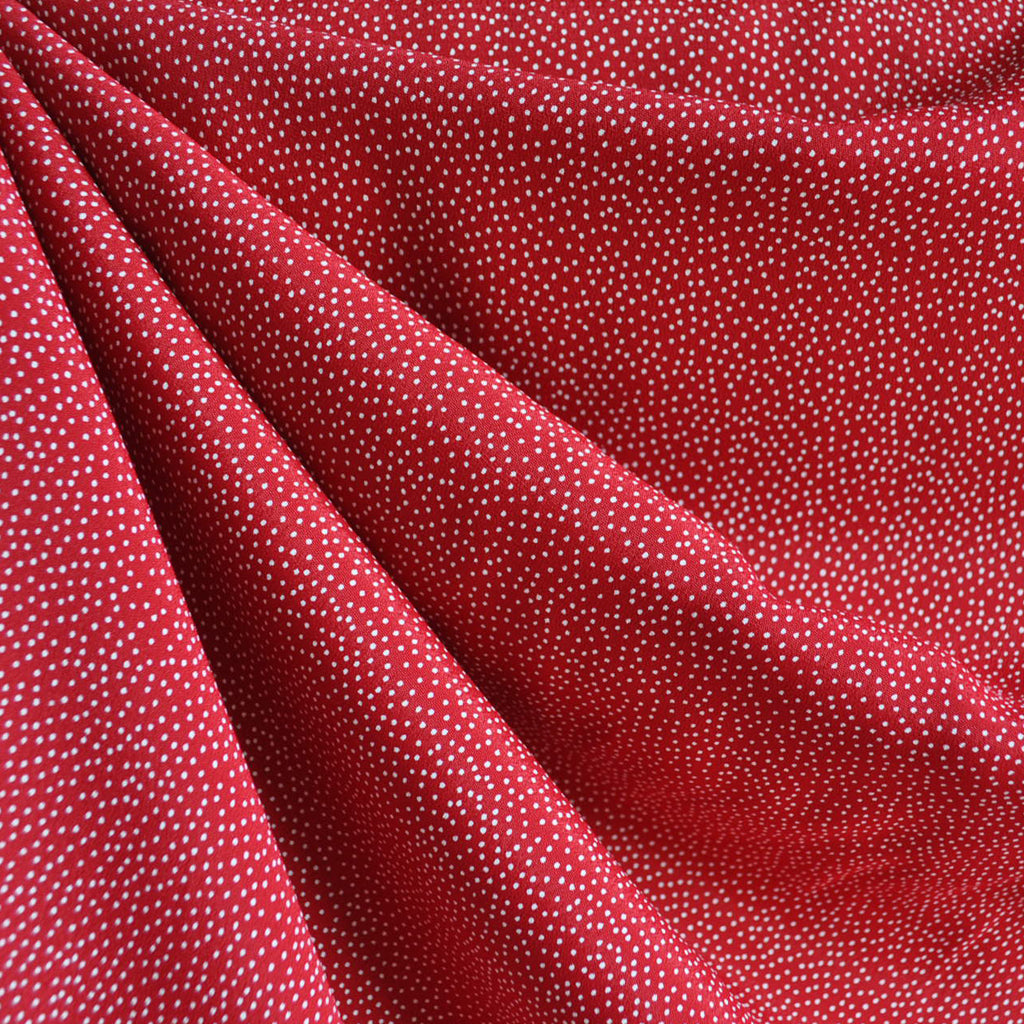 Rayon Crepe Pin Dot Red/White SY - Sold Out - Style Maker Fabrics