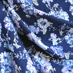 Rayon Challis Floral Navy/Blues - Fabric - Style Maker Fabrics