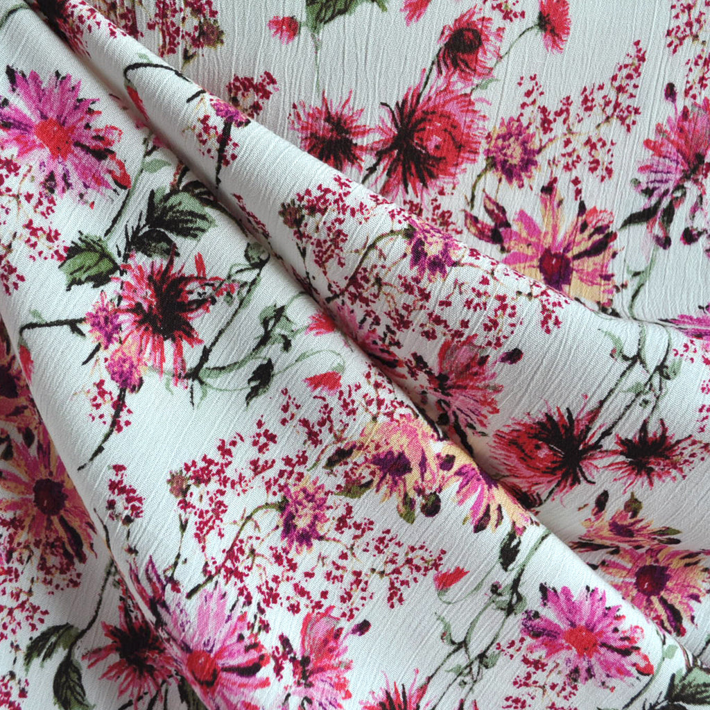 Daisy Floral Rayon Crepe Cream/Pink - Sold Out - Style Maker Fabrics