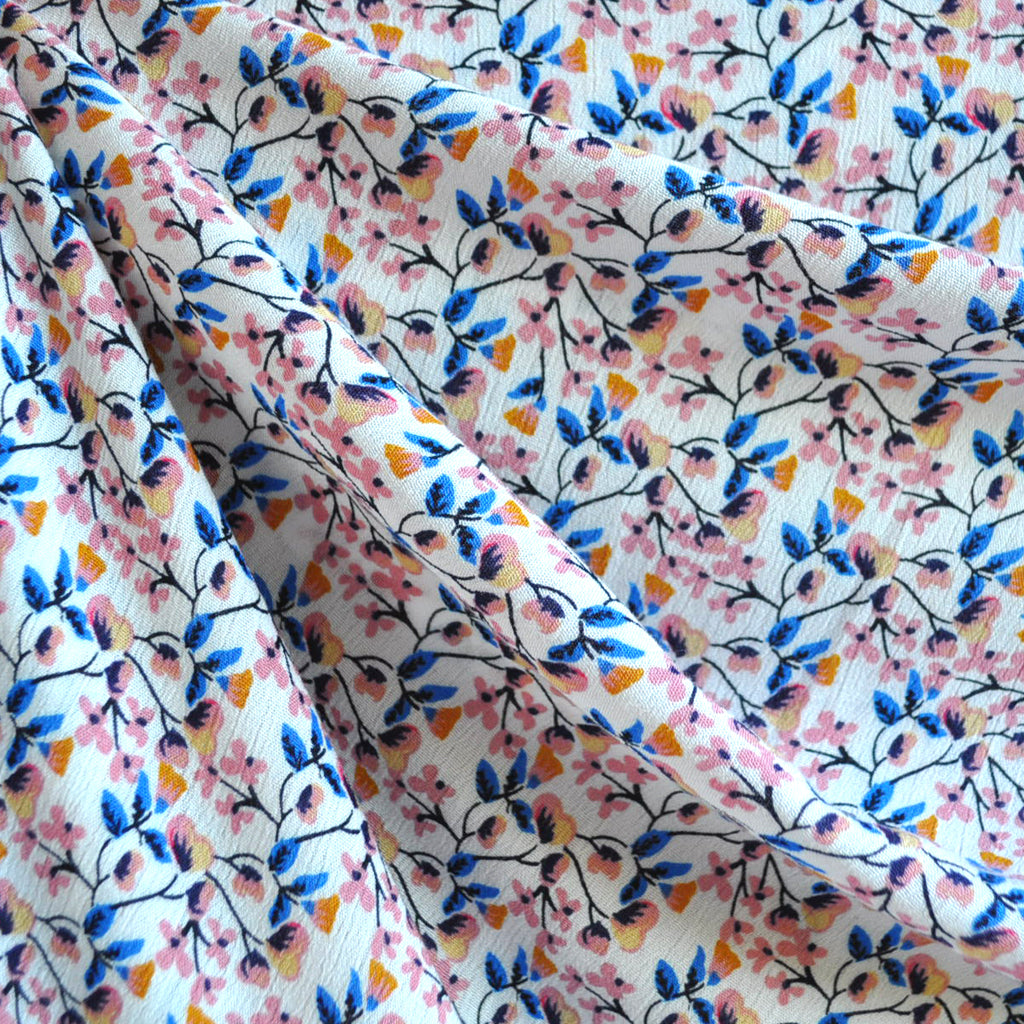 Rayon Crepe Vine Floral Cream/Pink - Fabric - Style Maker Fabrics