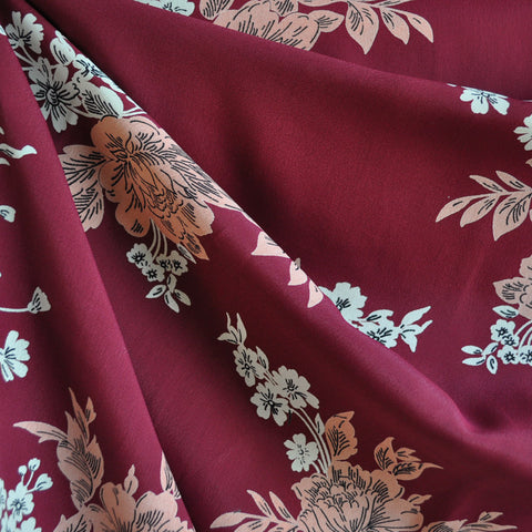 Rayon Crepe Romantic Floral Burgundy/Coral