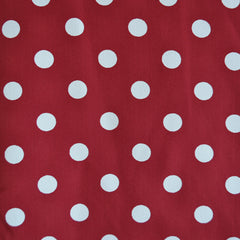 Rayon Crepe Polka Dot Red/Vanilla - Sold Out - Style Maker Fabrics