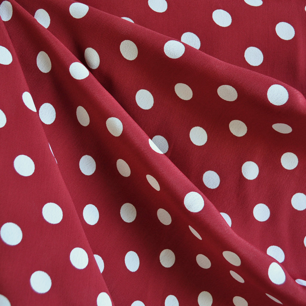Rayon Crepe Polka Dot Red/Vanilla SY - Sold Out - Style Maker Fabrics