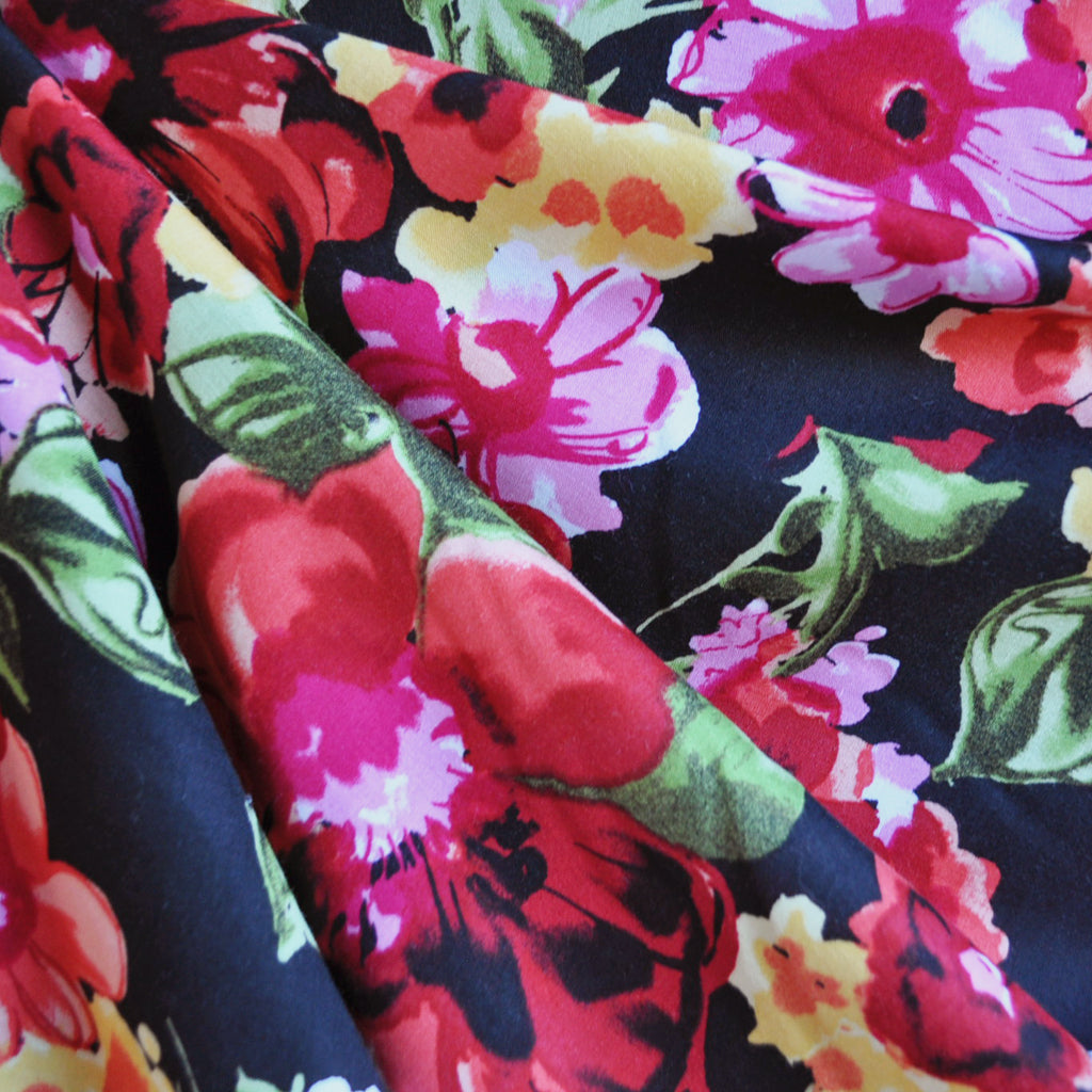 Bold Floral Rayon Challis Black/Bright - Sold Out - Style Maker Fabrics