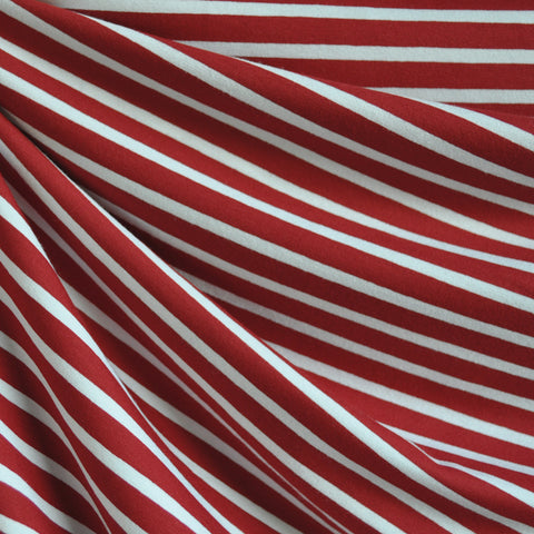 Jersey Knit Pencil Stripe Red/White