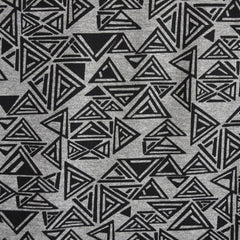 Triangle Geometric Jersey Knit Print Grey/Black SY - Sold Out - Style Maker Fabrics