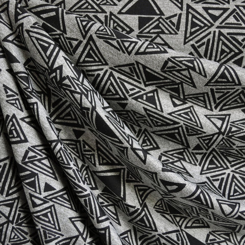 Triangle Geometric Jersey Knit Print Grey/Black