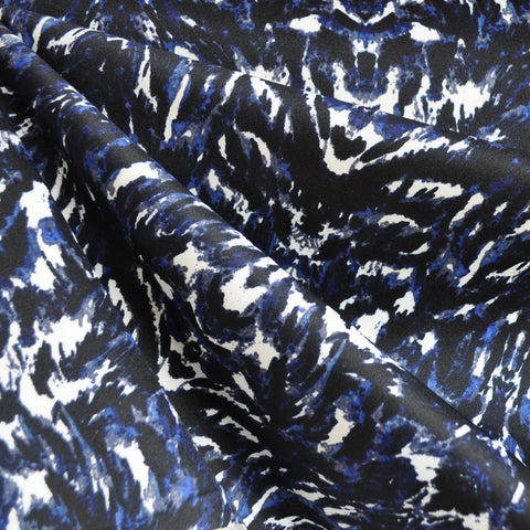 Abstract Print Scuba Knit Navy/Black