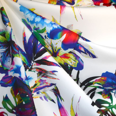 Tropical Floral Soft Scuba Knit Rainbow