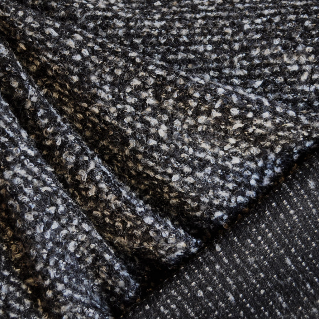 Boucle Sweater Knit Charcoal/Cream - Sold Out - Style Maker Fabrics