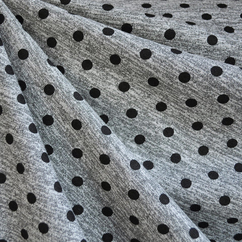 French Terry Polka Dot Heather Grey/Black