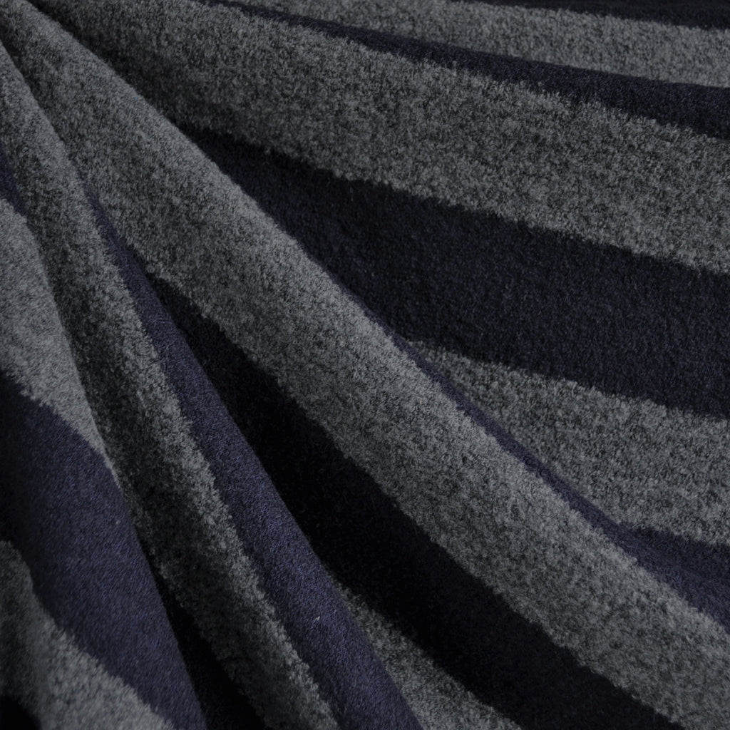 Rugby Stripe Wool Sweater Knit Charcoal/Navy SY - Sold Out - Style Maker Fabrics