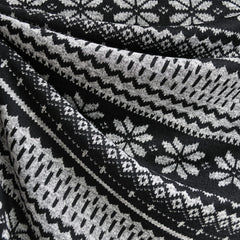 Nordic Snowflake Sweater Knit Black/Grey - Sold Out - Style Maker Fabrics