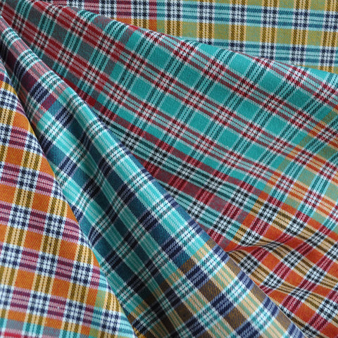 Patchwork Plaid Shirting Red/Aqua