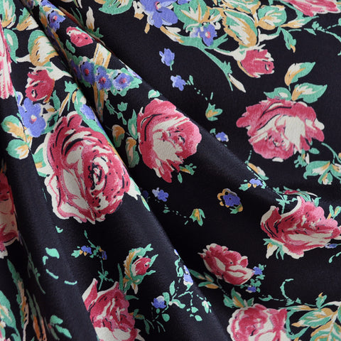 Vintage Watercolor Floral Rayon Crepe Black/Rose
