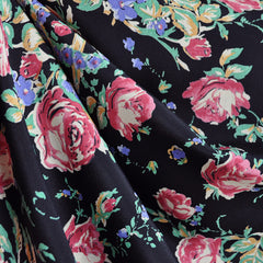 Vintage Watercolor Floral Rayon Crepe Black/Rose SY - Sold Out - Style Maker Fabrics