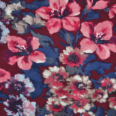 Winter Floral Jersey Knit Burgundy/Navy - Sold Out - Style Maker Fabrics