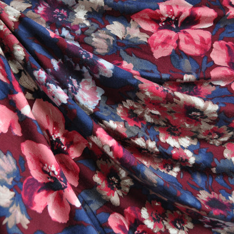 Winter Floral Jersey Knit Burgundy/Navy SY