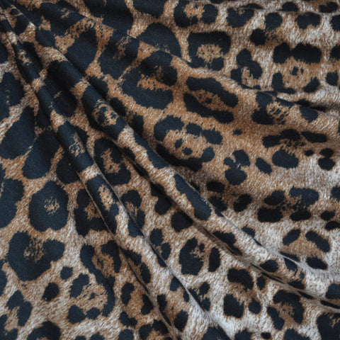 Animal Print Rayon Jersey Knit Tan/Black
