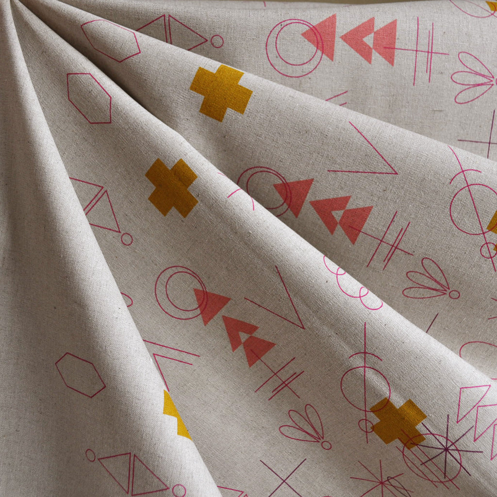 Adorn Symbolic Double Border Linen Blend Warm SY - Sold Out - Style Maker Fabrics