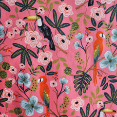 Menagerie Paradise Garden Rayon Cotton Lawn Coral - Fabric - Style Maker Fabrics