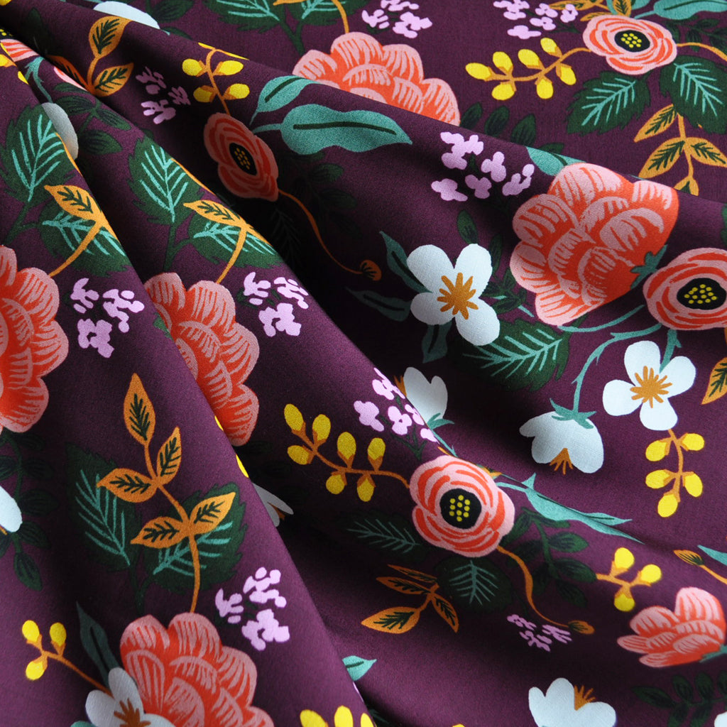 Menagerie Birch Floral Rayon Eggplant - Fabric - Style Maker Fabrics