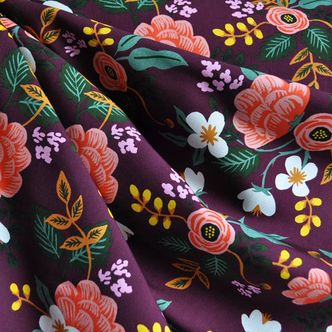 Menagerie Birch Floral Rayon Eggplant