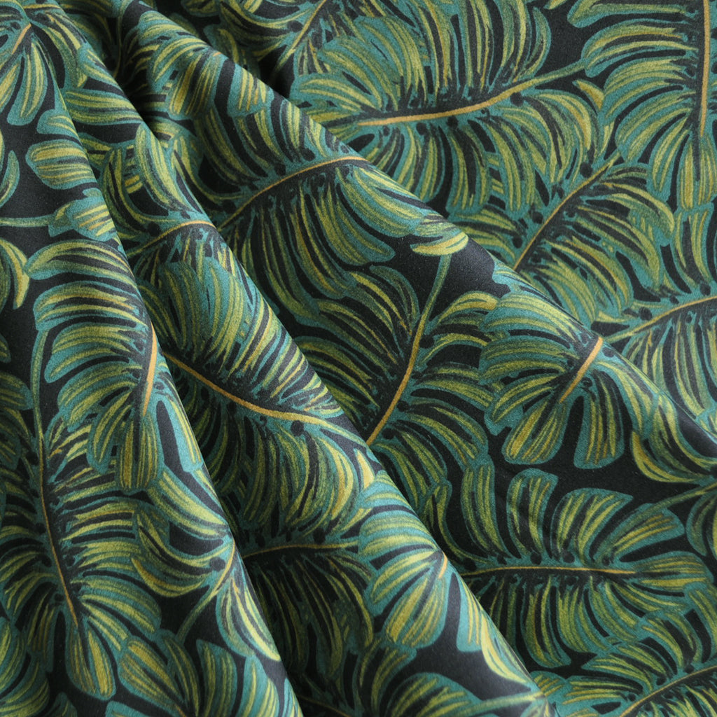 Menagerie Monstera Rayon Cotton Lawn Midnight - Sold Out - Style Maker Fabrics