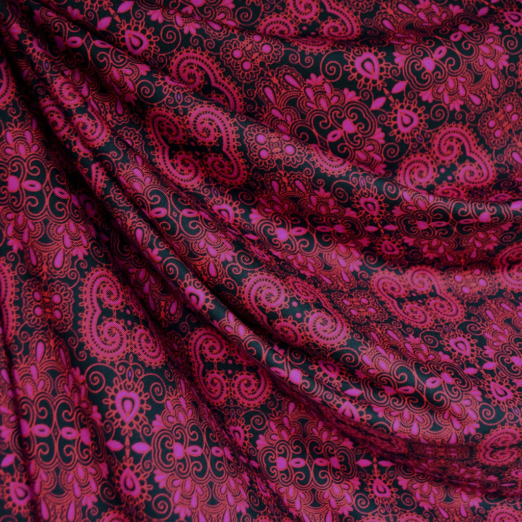 Paisley Medallion Athletic Jersey Knit Magenta SY - Sold Out - Style Maker Fabrics