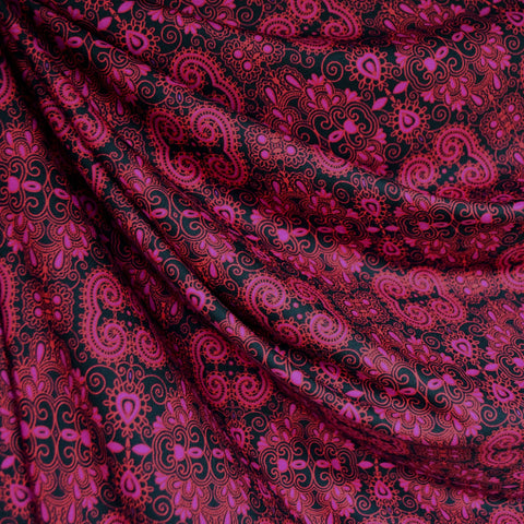 Paisley Medallion Athletic Jersey Knit Magenta