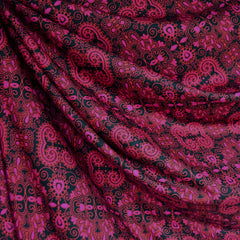 Paisley Medallion Athletic Jersey Knit Magenta - Fabric - Style Maker Fabrics